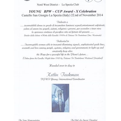 pergamena premiazione Ketlin Tackman